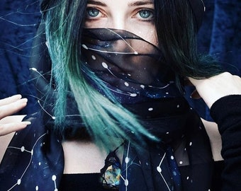 Scarf Constellations bohemian Celestial Fashion dancing foulard universe constellation stars galaxy nebula dark night sky