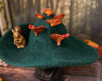 Forest Witch hat with mushrooms and a Squirrel forest wizard hat felted hat wool Halloween costume witch costume larp hat cosplay
