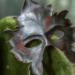 Leather Mask Druid Leaf Maple autumn natural wiccan masquerade  Green Man