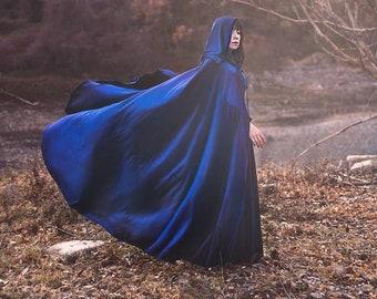 Blue velvet cape, elven ,wizard or witch, medieval fantasy cloak with hood medieval