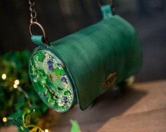 Koi fish Pond bag witch inspired forest handbag shoulder bag magic leather and resin