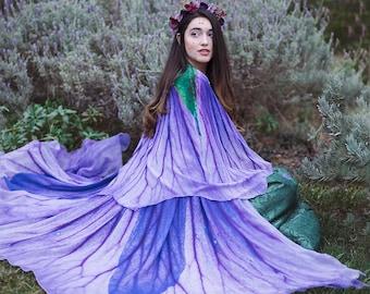 Flower cape floral cloak Violet Petunia scarf shawl purple lavender poncho convertible skirt