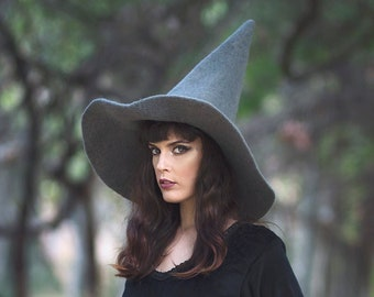 Gray Witch hat wizard magic hat- Grey wool Felt tall pointed hat pagan occult wicca witchy dark academia