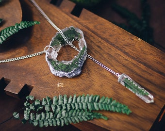 Fern necklace resin necklace Geode slice resin pendant crystal point im green pressed flower jewelry