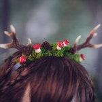 Deer Antlers with mushrooms Costume Horns resin amanita muscaria moss Headpiece Kawaii Mori Kei Woodland Lolita Fawn Faun Larp Faerie