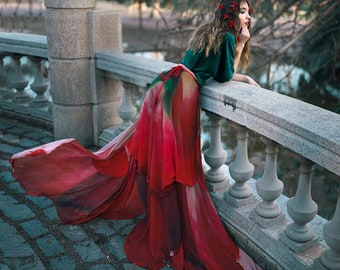 Flower cape floral cloak Red Rose scarf shawl romantic poncho convertible skirt
