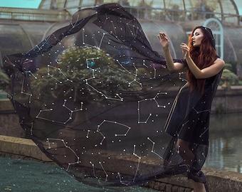 Constellations cloak in vegan silk chiffon Celestial Fashion Galaxy cape with hood handfasting medieval dark fantasy witch wizard costume