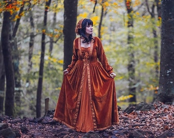 Blue Medieval Dress Celtic Gown Elven Dress Long Sleeves Etsy