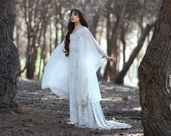 cba8e3251646 Medieval Dress Celtic Wedding dress Galadriel Costume Elvish, Medieval,  Pre- Raphaelite, Gothic, Faery white medieval