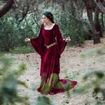 Burgundy medieval dress red velvet preraphaelite ren fair elven costume celtic medieval velvet dress