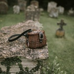 Witch bag wood and leather cauldron form black and brown vintage witchcraft basket inspired handbag shoulder bag