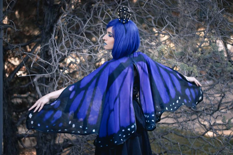 450fc0d7ec6 Blue Butterfly cape monarch cloak dance wings costume short