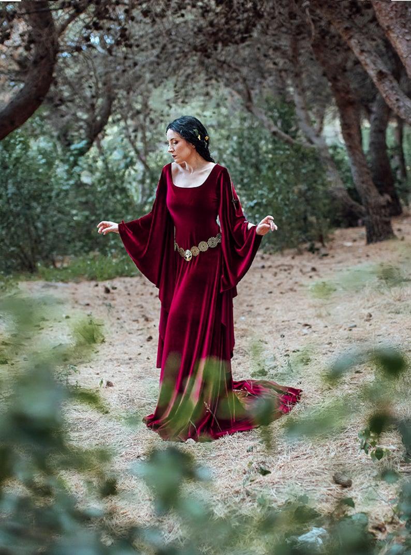 Burgundy medieval dress red velvet preraphaelite ren fair image 0
