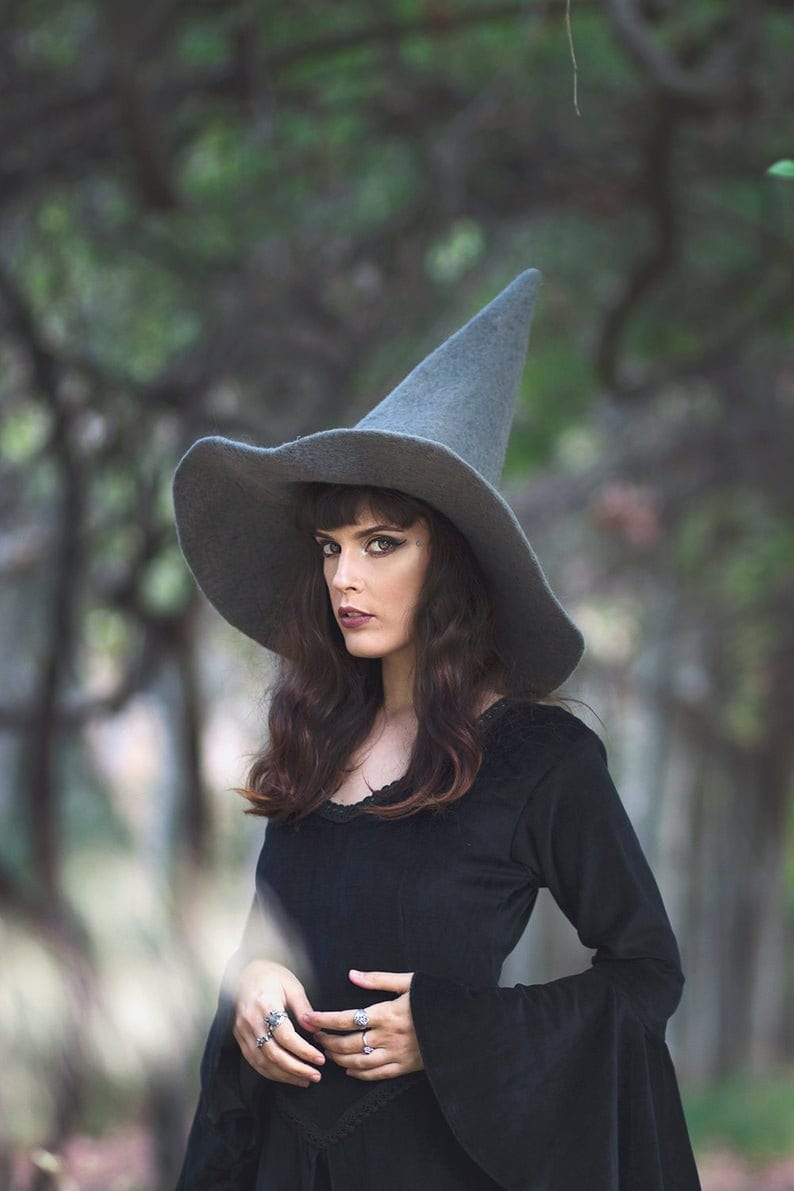 Gray Witch hat wizard magic hat Grey wool Felt tall pointed image 0
