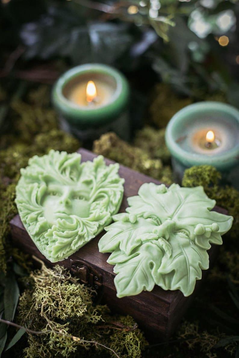 Soap Green Handmade with Sandalwood scent Glycerin Soap vegan image 0
