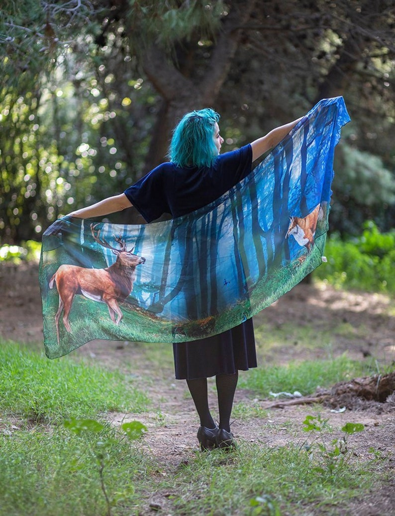 Forest scarf  deer and fox nature lover  bohemian dancing image 0