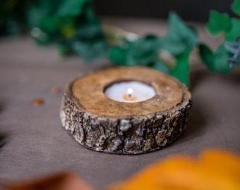 Candle Holder Log imitation in Resin