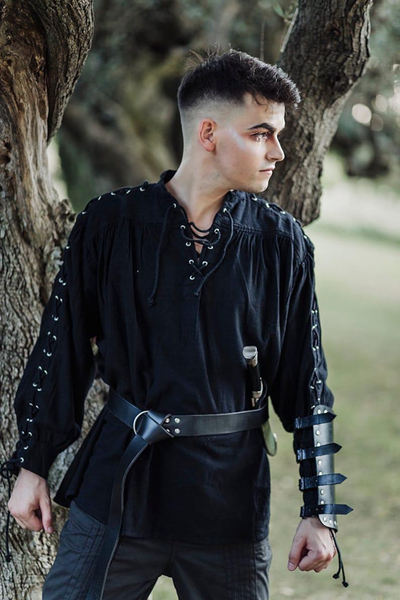Steampunk Renaissance Fantasy Medieval Renaissance Costume Cosplay larp Men shirt Pirate black Cotton Shirt