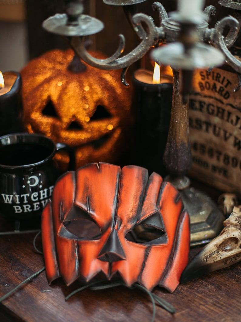 Jack o Lantern Pumpkin Leather Mask Halloween autumn Harvest image 0