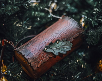 Log bag wood and leather nature form Druid witch inspired handbag shoulder bag goblincore cottagecore