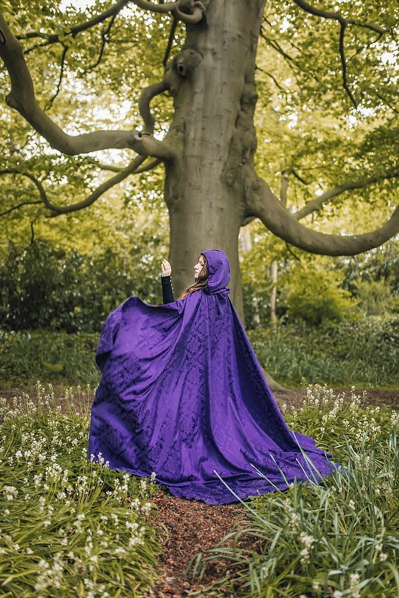 Purple cape damasc cloak with hood long hooded cape Medieval image 0