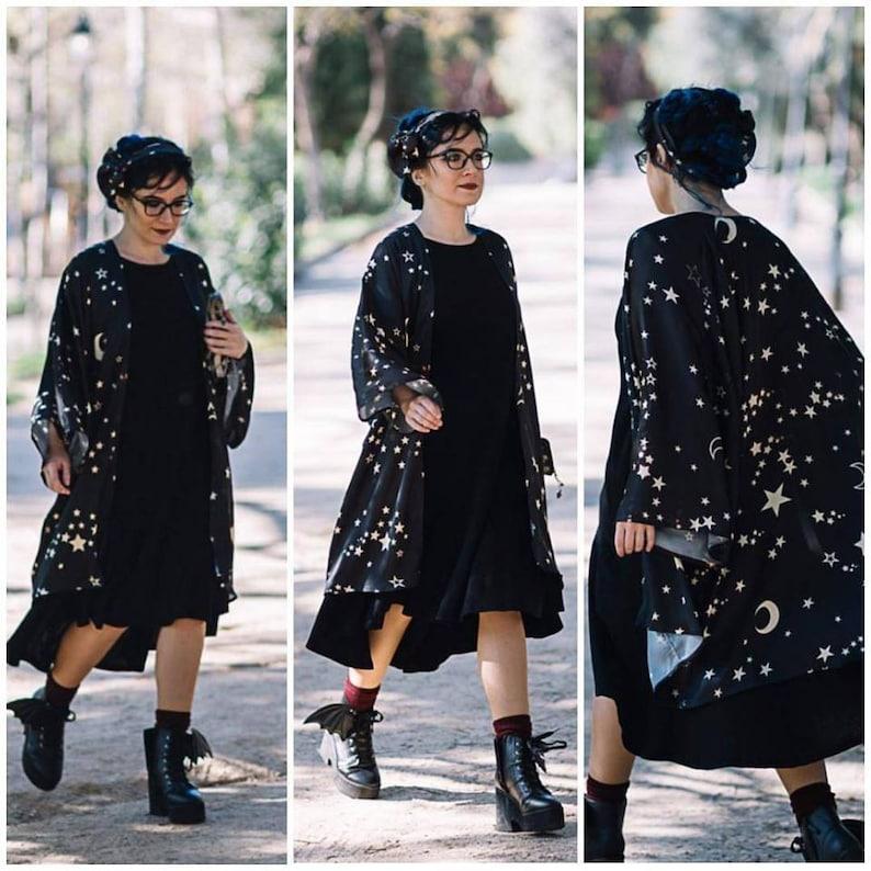 Kimono Stars Robe Sylky Clothing BOHO Cardigan Beach Celestial image 0