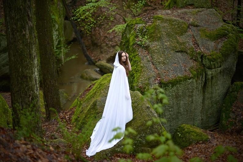 0bb52c52544e7 Wedding bridal cloak white ivory cream vanille chiffon | Etsy
