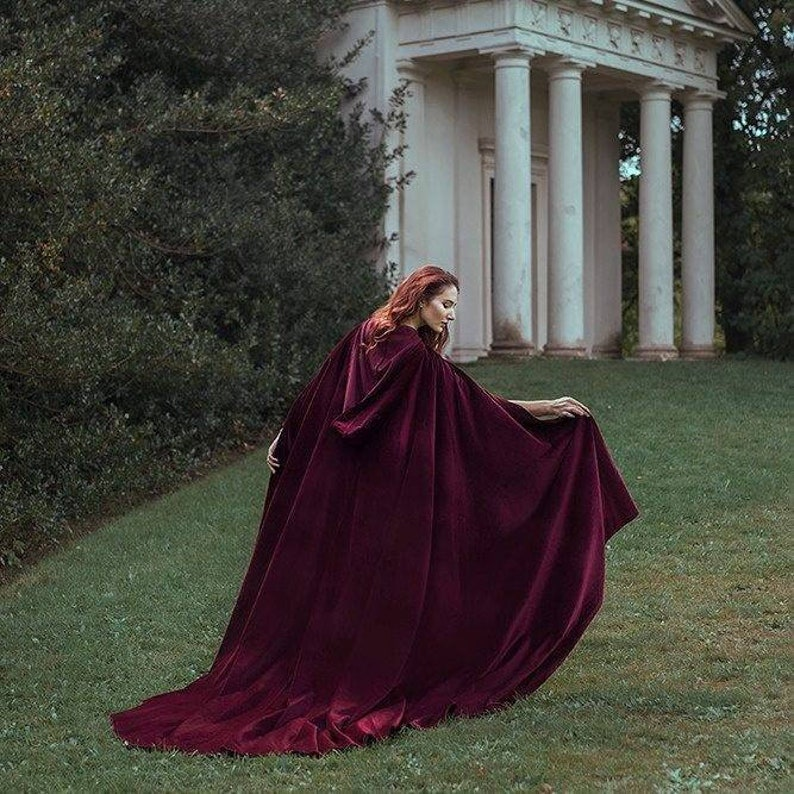 Red Velvet Cape Hooded Cloak Riding Hood cloak with train very image 0
