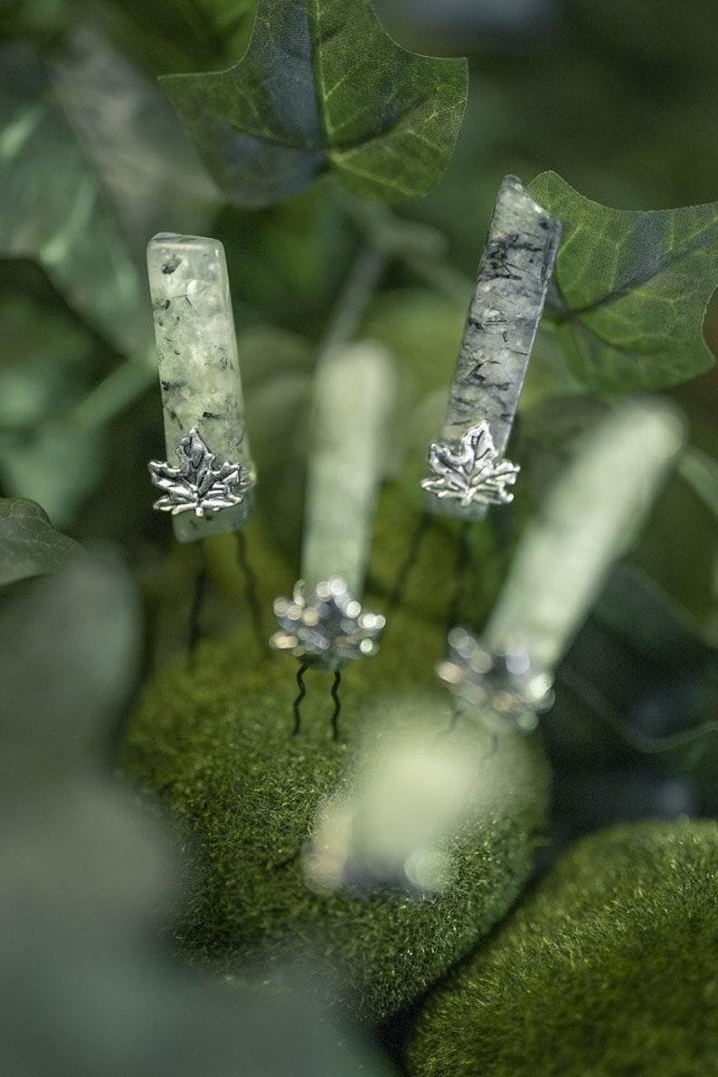 Crystal hair pin quartz crystal hairpin Green   Raw moss image 0