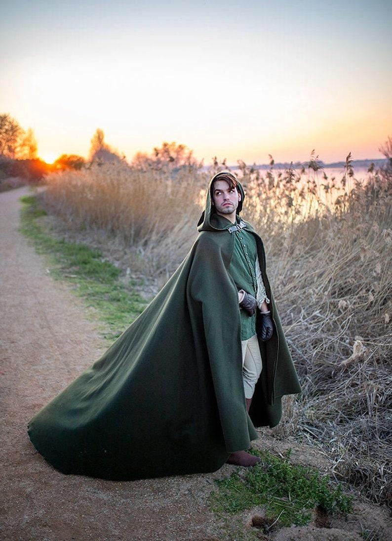 Green Vegan Wool Druid Cape Hooded Cloak Elven Costume cloth image 0