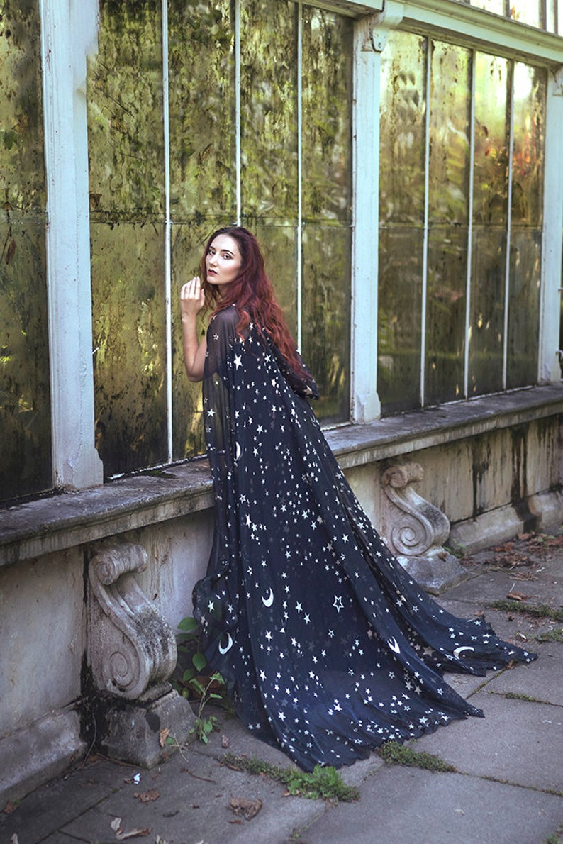 Black Stars & Moon cloak in vegan silk chiffon Celestial image 0