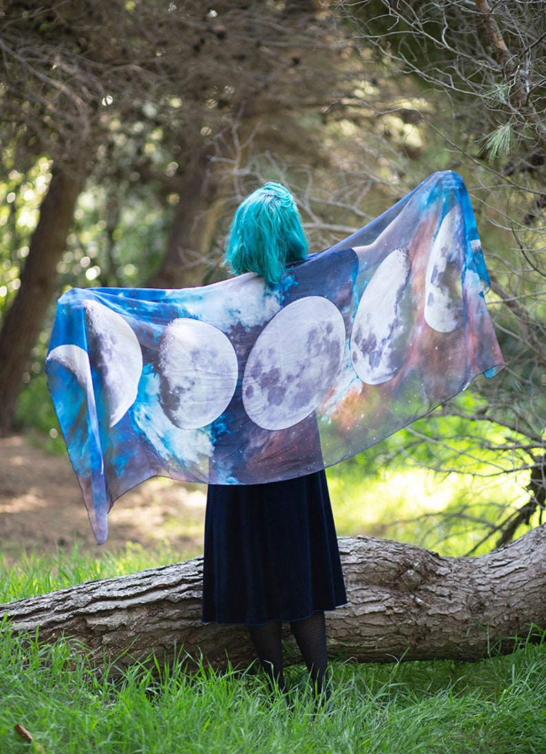 Moon Phases scarf nocturnal celestial nature bohemian dancing image 0