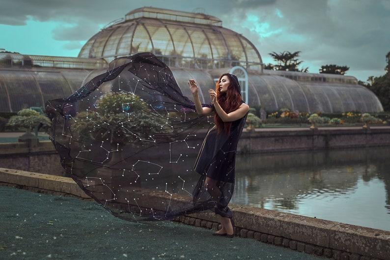 Constellations cloak in vegan silk chiffon Celestial Fashion image 0