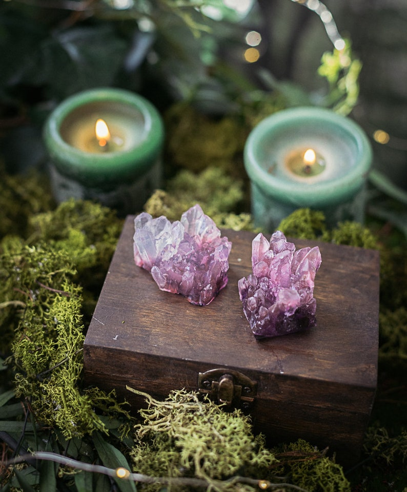 Amethyst Crystal Soap  Handmade GEODE with jasmine scent image 0