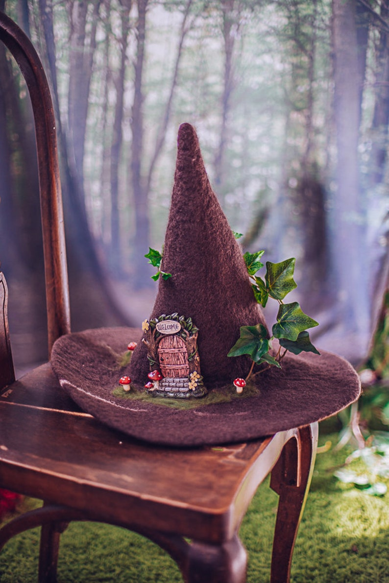 Witch hat Fairy door forest wizard hat felted hat from wool image 0
