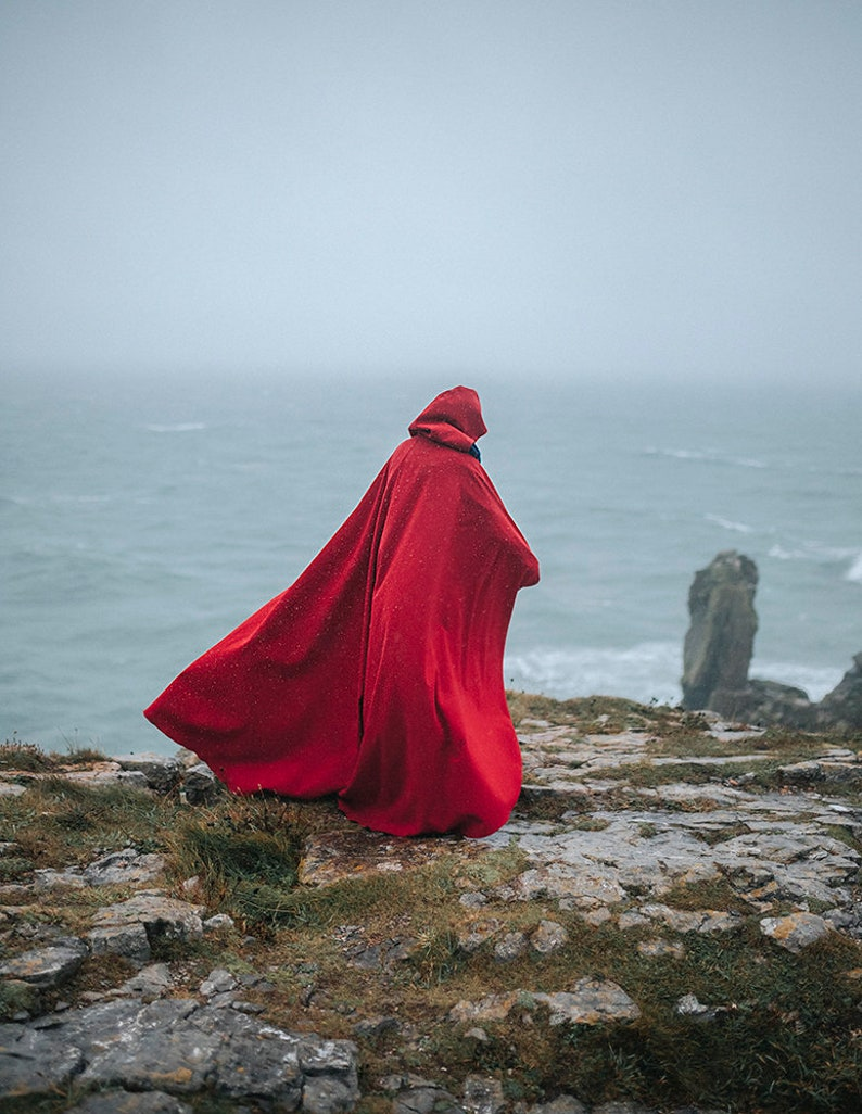 Red vegan wool cloth Cape Hooded Cloak Riding Hood cloak with image 0