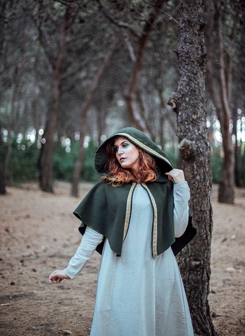 Green archer hooded cape  vegan wool cloak  larp costume elf image 0