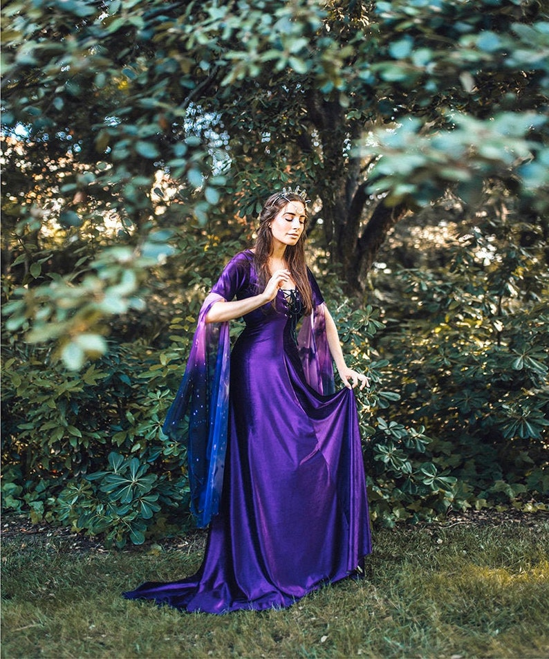 Medieval Dress Purple Violet Velvet Celtic Elven Gown image 0