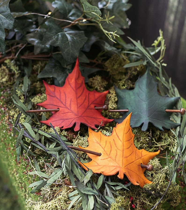 Leather Leaf Hair Barrette in Leather Autumn image 0