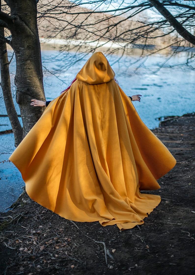 Yellow cloak Vegan Wool Druid Cape Hooded Cloak Elven Costume image 0