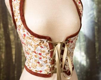 Hobbit bodice, Autumn Renaissance corset flowers cottagecore style  corset vest, Wench regency steampunk