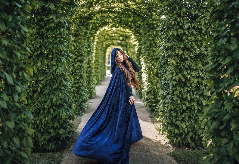 Cloak Burnout Velvet Dark Blue Cape Fairytale Fantasy Witch image 0