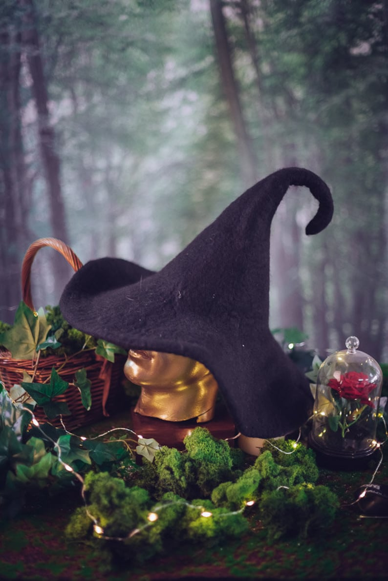 Witch hat wizard magic hat wizard Black wool Felt tall image 0