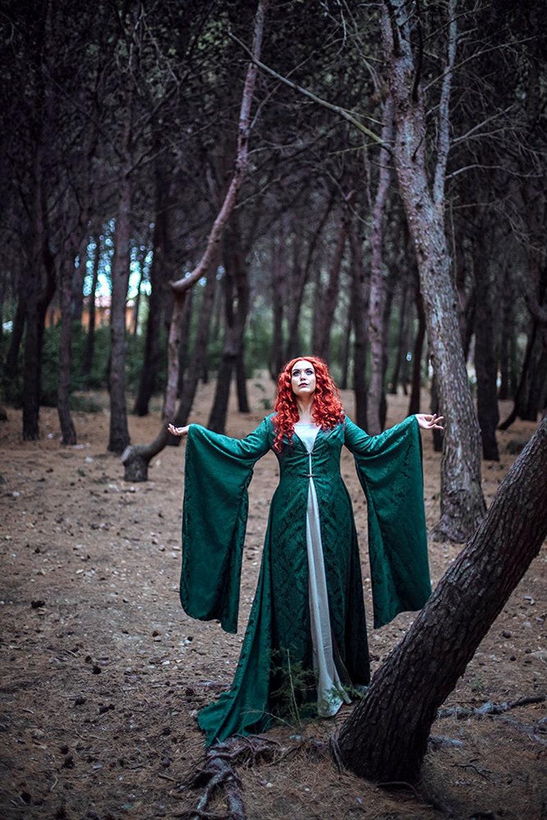 Green coat Druid dress cloak brocade medieval elf elven cape image 0