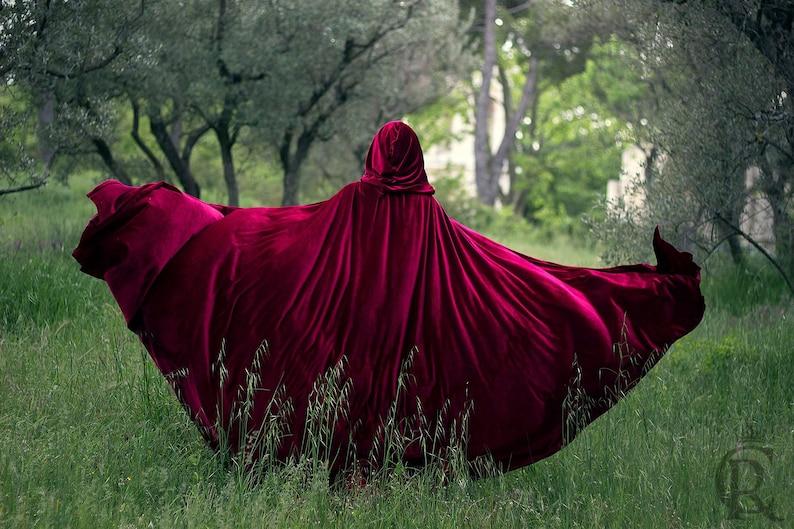 Red Riding Hood stretch Velvet Cape Costume Cape Fairytale image 0