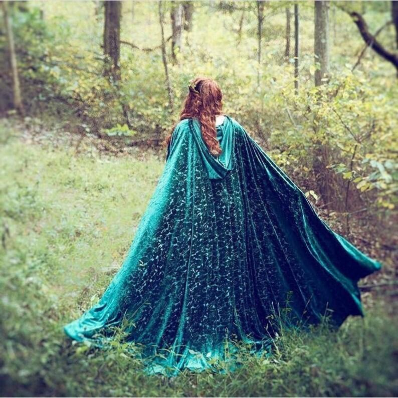 Elven cape Velvet Green hooded Cloak Fairy medieval Fantasy image 0