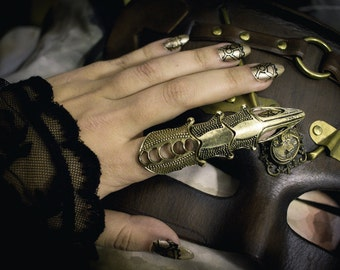 Steampunk ring, custom steampunk armor ring, armor ring, full finger knuckle ring, statement ring, gothic ring