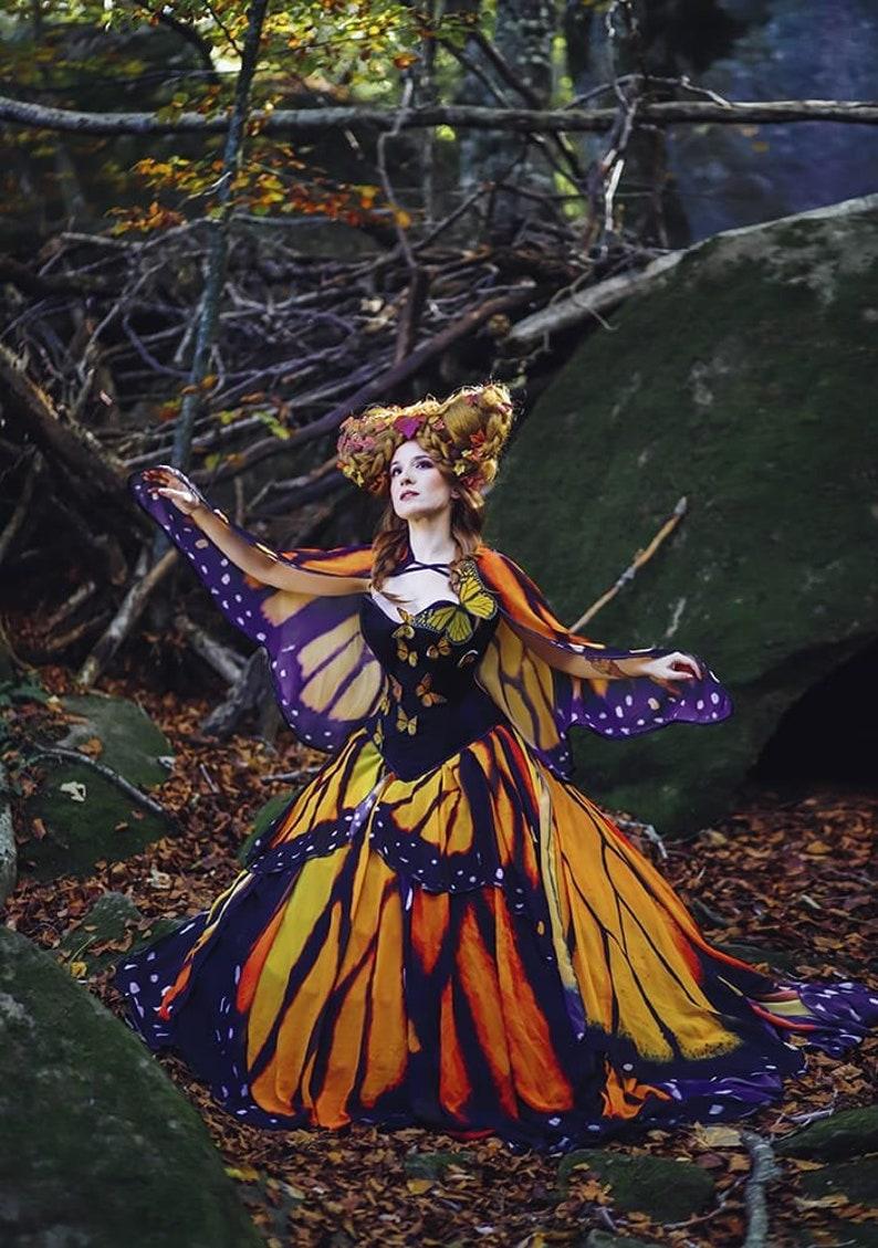Monarch Queen Butterfly Wings OOAK Dress Full Costume Fantasy image 0