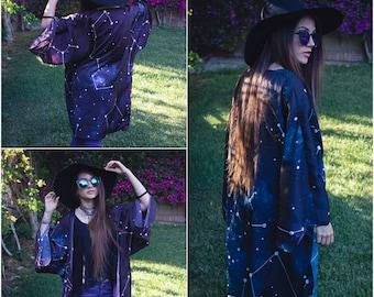 Constellations Kimono Robe Sylky Cardigan Beach cover up Bohemian Oversized kimono Summer boho jacket clothing celestial witch dark academia