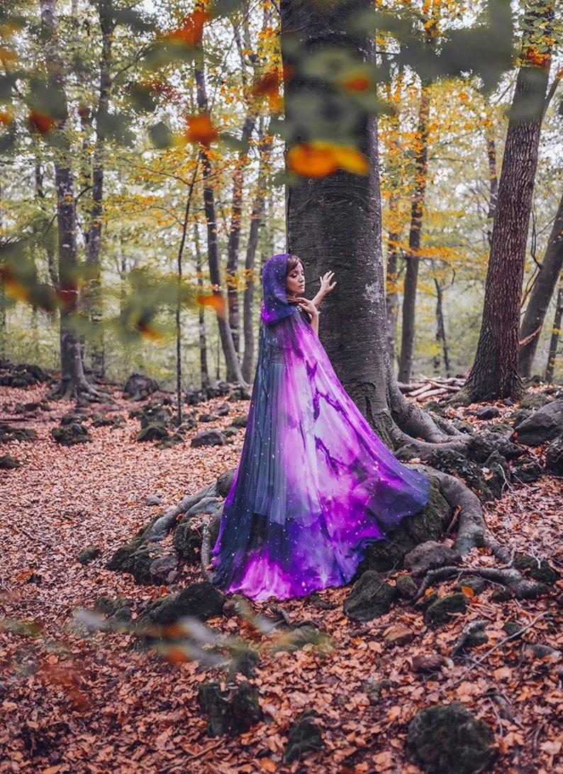 9ea75649cc9f Purple Nebula Galaxy cloak vegan silky chiffon Celestial